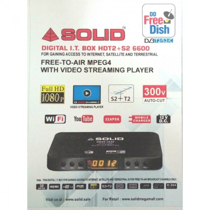 Buy Cash On Delhivery SOLID HDT2+S2-6600 FreeToAir Satellite